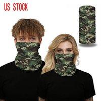 US Stock Camo 3D tryckt sömlös ansiktsmaske munskydd bandaner för damm, skidmask sport fiske springa huvudband för män wome fy6005