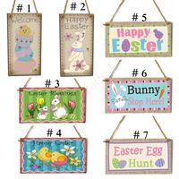 7 estilos Banderas Bandera de Pascua colgantes de madera del arte feliz del conejito de Pascua conejo ornamento colgante puerta de la pared del pórtico Decoración de Pascua colgante D1901