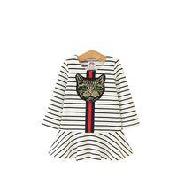2020 otoño bebés de la historieta de los vestidos de la manera de la raya de la lentejuela de la princesa de la manga larga del gato de los niños vestido de colmena de los niños del vestido del tutú S130