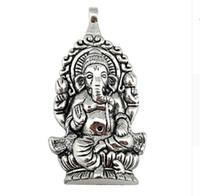 20pcs 합금 종교 태국 Ganesha 부처님 코끼리 매력 골동품 실버 매력 펜던트 목걸이 쥬얼리 찾기 62x32mm