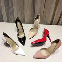 مصمم مضخات النساء أحذية عالية الكعب أحمر أسفل المدببة أصابع مضخات براءات جلدية حزب أحذية اللباس أحذية الزفاف مربع مزدوج sz 35-41