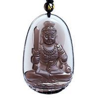 Ventas al por mayor Natural obsidiana tallada Buda afortunado amuleto colgante collar libre hombre mujer tallada a mano colgantes joyas