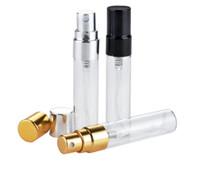 Gesundheitsduft 5ML 10ML transparente Glassprühflasche leer klar nachfüllbar Parfüm Zerstäuber mit Gold Silber Kappe Probe Glas b706