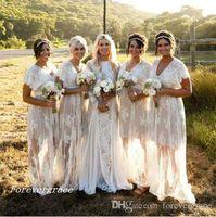 2019 Nowy Letni Czeski White Sheer Koronkowa Druhna Dress Boho Garden Wedding Party Guest Honor Suknia Plus Size Custom Made