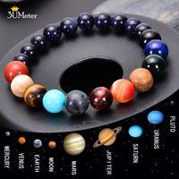 Huit planètes Perle Bracelet Pierre naturelle perles Chakra yoga Bracelet Univers Galaxy Bracelets Système Solaire Cadeaux Hommes Femmes