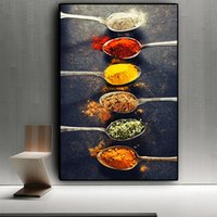Cuisine Grains épices Peppers Cuillère Peinture Toile scandinave Photos Wall Art pour Salon Home Decor (Frame No)
