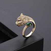 Personalidad de moda alternativa leopardo cabeza micro incrustado circón anillo mujeres hombres plata y oro anillos abiertos amante joyería pareja regalos vienen con caja