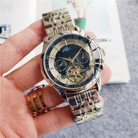 새로운 45m 자동 기계 손목 시계 뚜르 비옹 문 페이즈 시계 화이트 다이얼 실버 년 월 주 일 가죽 / 스테인레스 스틸 스트랩