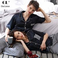 CherLemon Pigiama Donna e Uomo Summer Sleeping Sleepwear Sexy Striped Nightwear Couple Classic Turn Down Collar Pigiama blu scuro