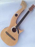 Rare Harfe Gitarre 6 6 8 String Natural Wood Acoustic E-Gitarre Double Neck Gitarre