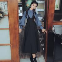Iki Parçalı Elbise Yosimi 2021 Sonbahar Kış Kadın Tam Kollu Fener Bluz Gömlek Ve Siyah Kayış 2 Kıyafetler Etek Orta Buzağı Set