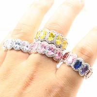2019 nueva llegada brillante joyería de lujo 925 plata esterlina oval corte topa cz diamante piedras preciosas partido mujer banda de boda anillo para los amantes