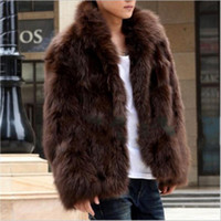 Mens Winter Faux Fur Coat Cool Warm Coats Fashion Brown Blac...