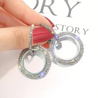 Женщины Bling Bling полный Кристалл двойной круг серьги обруча ювелирные изделия элегантный благородный стильный благородный обруч дикие серьги подарок бесплатная доставка