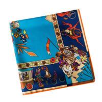 Mode- Arbre Floral Print Scarf Designer Marque De Luxe Femmes H Châles Foulard Femme Bleu Grand Twill Foulards En Soie Dropshipping 130 * 130CM