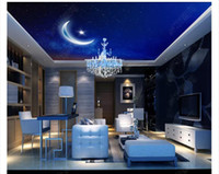 3D zenith mural custom photo ceiling wallpaper Night sky moo...