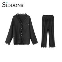 여성용 잠옷 섬세한 속옷 얇은 디자인 유혹 2 조각 긴 소매 바지 잠옷 세트 새틴 홈 나이트웨어 의류 복장
