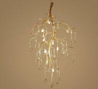 مصمم الفن الصمام فرع الذهب الثريا اليدوى الذهب ألو. كريستال زجاج المياه قطرة شنقا ضوء الإضاءة داخلي معلقة مصباح قلادة