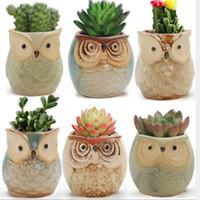 Lovely Cartoon a forma di gufo vaso di fiori per piante grasse Carnose vaso di fiori in ceramica Mini Mini casa / giardino / decorazione ufficio