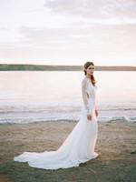 White Sheath Chiffon Långärmad Boho Bröllopsklänning Backless 2020 Ny sexig Hochzeitskleid Vestido de Casamento Beach Bohemian Bröllopsklänningar