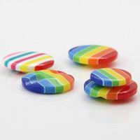 Los suéteres, automáticos, botones DIY caramelo 200pcs 13,5 mm Botón fabricante de la resina de la raya de siete colores camisas Botón de alta gama de niños al por mayor