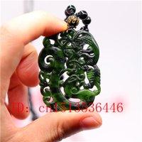 الصينية الأسود اليشم الأخضر مواجهة مزدوجة منحوتة فينيكس قلادة اليد الطبيعية نحت قلادة تميمة الحظ هدايا الرجال سلسلة البلوز