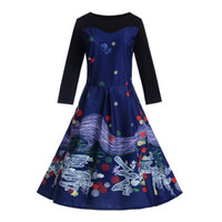 Women dress Vintage Long Sleeve party dress Summer style rob...