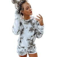 Womens Tie Dye Printed Short Pajamas Set Long Sleeve Tops an...
