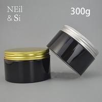 Schwarz 300g Plastiksahneglas 300ml Kosmetik bilden Gesichtsmaske Lotion Verpackung Leere Süßigkeit Pill Vorratsflasche Freies Verschiffen