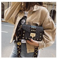 New fashion lacquer lady bag rivet sequins small square lock...