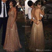 럭셔리 반짝 알린 댄스 파티 드레스 스파게티 스트랩 등이없는 스윕 기차 특별한 드레스 정장 파티 이브닝 가운 저렴한 Vestidos