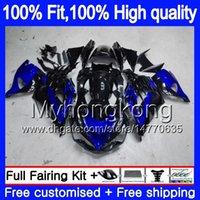Iniezione per Kawasaki ZX 14R ZZR1400 2006 2007 2008 2009 2010 2011 223MY.17 ZZR1400 ZX14R ZX14R 06 07 08 09 10 11 Blue carenature nere