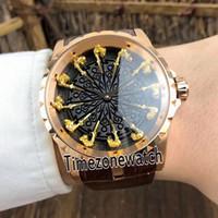 Yeni Excalibur 45 RDDBEX0398 Otomatik Erkek Saat Gül Altın Siyah Yuvarlak Tabanın Altın Kadranları Deri Saatler Timezonewatch E11f6.