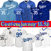 Custom Dodgers 22 Maillots Clayton Kershaw Los Angeles 99 Hyun-Jin Ryu 35 Cody Bellinger 14 Enrique Hernandez 10 Justin Turner 5 Corey Seager