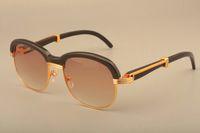 2019 livre transporte retro Moda chifres Negros naturais espelho Pernas Óculos de sol chifres Da Moda óculos de sol 1116728 tamanho: 58-18-135mm