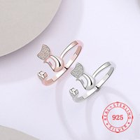 lovely cat design 925 sterling silver tiny cz animal ring Gu...