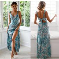 Spaghetti Bracelet Bohème Womne robe d'été 2019 imprimé floral manches Elegant longue robe sexy Boho plage Maxi