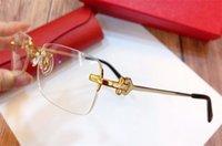 Moda Eyeglasses Prescrizione 280098 Rimless 18K Gold Frame Occhiali ottici Occhiali Cancella Lente Stile semplice stile business per gli uomini