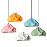 Europa colorido minimalismo luzes pingente, ferro forjado polígono oco droplight, restaurante doméstico iluminação decorativa