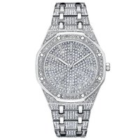 Full diamond men's watch hot quartz watch fashion steel belt waterproof 1012 dial 42mm alloy watchband