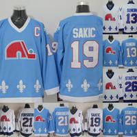 Mens 19 Joe Sakic Jersey Quebec Nordiques 13 tappetini Sundin 21 Peter Forsberg 26 Peter Stantny 100% cucito Retro Ice Hockey Jerseys