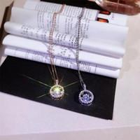 Klassische romantische modeschmuck echt 925 sterling silverrose gold füll runde weiß topaz cz diamant tanzen anhänger clavicle halskette geschenk