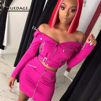 Fuedage 2019 Sexy Off Shoulder Two Piece Set Solid Zipper Bo...