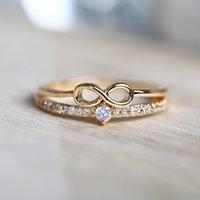 Lucky Number 8 Pierścień Kreatywny Proste Inkrustowane Kryształowe Pierścień Kobiety Nieskończoność Złota Pierścień Biżuteria Rozmiar 6 7 8 9 DHL