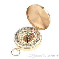 Großhandels-Classic Brass-Taschen-Uhr-Art-kampierender Kompass Wandern Außen Wandern Camping Zubehör Noctilucent Kompass Freies Verschiffen hxl