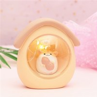 Creative Mini Animaux LED Night Light Hamster Starry Home Decor Résine Maison Forme Cellule Bouton Commutateur Enfants Table Lampes
