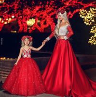 Mangas de lujo de noche rojo de las muchachas del desfile de vestidos de perlas largo tul prom Maxi vestidos del vestido de niña de las flores para la boda formal del partido