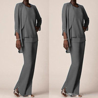 Grey Chiffon Formal Pant Suits For Mother Groom Dresses Even...