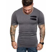 Kasetli Kürk Pocket Erkek Tee Moda Kısa Kollu T Shirt Tasarımcı Katı Renk Casual Erkek Erkek Giyim Tops