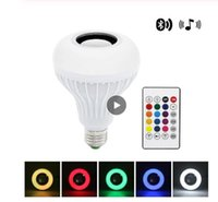 Akıllı E27 LED RGB Müzik Ampul Kablosuz Bluetooth Hoparlör Müzik Çalma Ses Kısılabilir Işık Lambası ile 24 Tuşları Uzaktan Kumanda